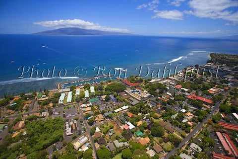 Aerial of Lahaina and the harbor. Lanai in distance, Maui, Hawaii - Hawaiipictures.com