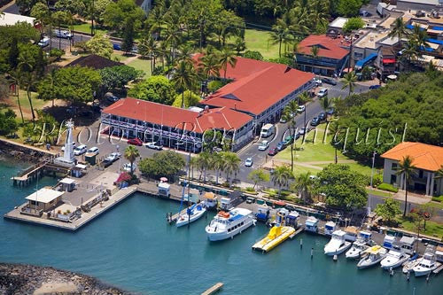 Aerial of Lahaina Harbor and the Pioneer Inn, Lahaina, Maui, Hawaii - Hawaiipictures.com