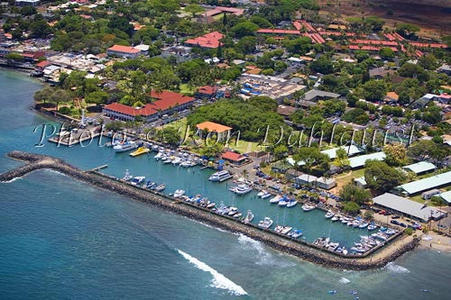 Aerial of Lahaina Harbor and the Pioneer Inn, Lahaina, Maui, Hawaii Picture - Hawaiipictures.com