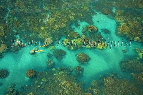 Aerial view of kayakers in the turquoise water and coral off of Olowalu, Maui, Hawaii - Hawaiipictures.com