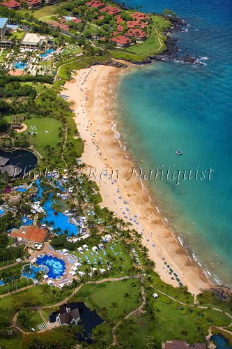 Aerial of Wailea Beach and the Grand Wailea Resort, Maui, Hawaii - Hawaiipictures.com