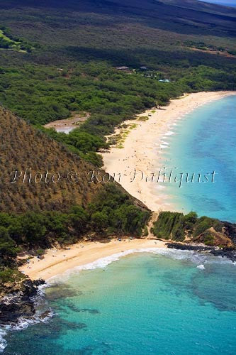 Aerial of Little Beach and Big Beach, Makena, Maui, Hawaii Picture - Hawaiipictures.com