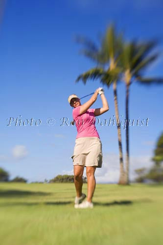 Woman golfing on Maui, Hawaii MR Picture