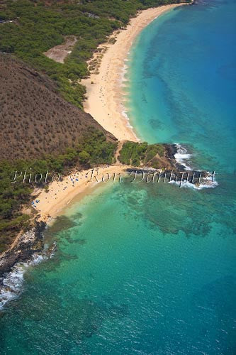 Aerial of Little Beach and Big Beach (Oneloa), Makena, Maui - Hawaiipictures.com