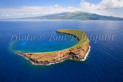 Aerial view of Molokini with Maui in background, Hawaii - Hawaiipictures.com