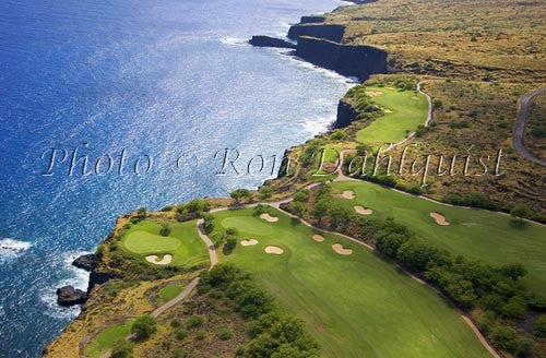 Aerial of The Challenge at Manele Golf Course, Lanai, Hawaii - Hawaiipictures.com