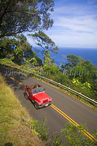 Red jeep driving the road to Hana near Hanamanu, Maui, Hawaii