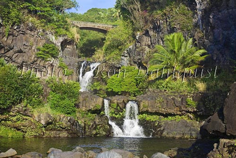 Waterfall and pools at Oheo Gulch near Hana. Kipahulu, Maui, Hawaii Picture Photo