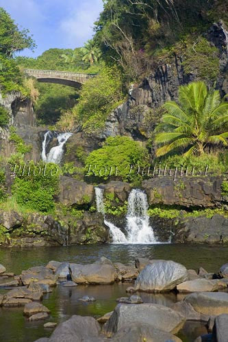 Waterfall and pools at Oheo Gulch near Hana. Kipahulu, Maui, Hawaii