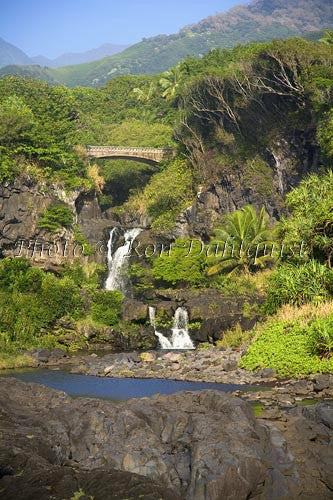 Waterfall and pools at Oheo Gulch near Hana. Kipahulu, Maui, Hawaii Picture
