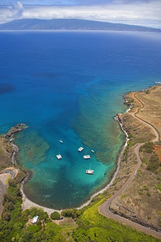 Aerial of Honolua Bay near Kapalua, Maui, Hawaii - Hawaiipictures.com