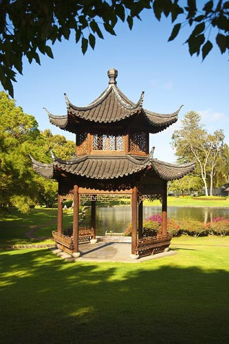 Chinese Pagoda on the beautiful grounds of The Four Seasons Lanai, The Lodge at Koele, Lanai, Hawaii