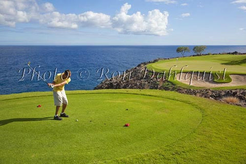 Young man golfing at The Challenge at Manele Golf course, Lanai, Hawaii - Hawaiipictures.com