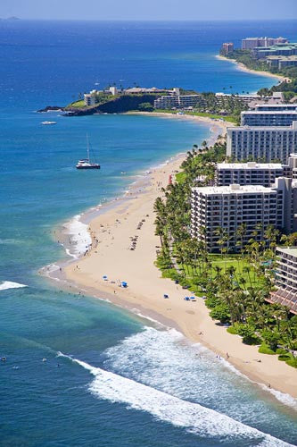 Aerial of Kaanapali beach and hotels, Maui, Hawaii - Hawaiipictures.com
