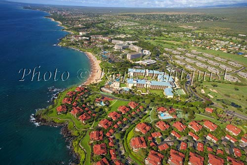 Aerial of Wailea resorts and coastline, Maui, Hawaii Picture Photo - Hawaiipictures.com