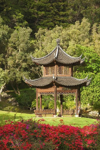 Chinese Pagoda on the beautiful grounds of The Four Seasons Lanai, The Lodge at Koele, Lanai, Hawaii Picture