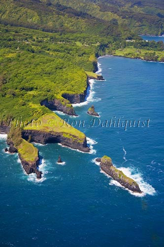 Aerial of north shore of Maui near Keanae, Seabird Sanctuary, Pauwalu Point, Hawaii - Hawaiipictures.com