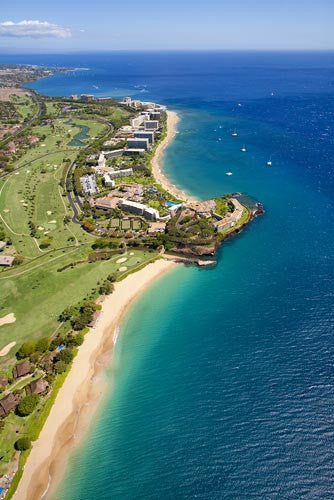 Aerial of Kaanapali beach and hotels, Maui, Hawaii Picture - Hawaiipictures.com