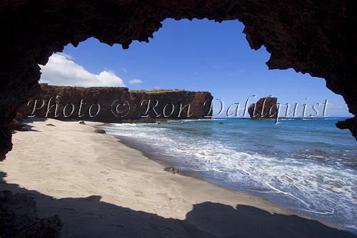 Puu Pehe Rock viewed through sea cave, Lanai, Hawaii
