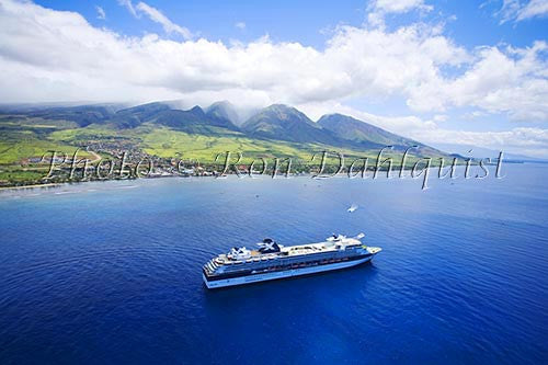 Aerial view of cruise ship, Lahaina, and the West Maui Mountains, Maui, Hawaii - Hawaiipictures.com