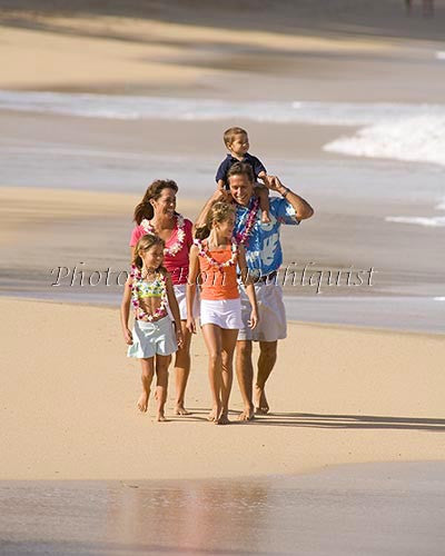 Vacationing family on the beach, Maui, Hawaii Picture