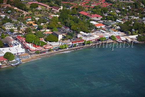 Aerial of Front Street in Lahaina. Famous shopping area, Maui, Hawaii - Hawaiipictures.com