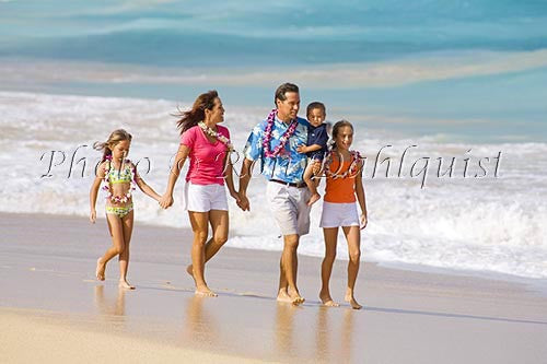 Vacationing family on the beach, Maui, Hawaii
