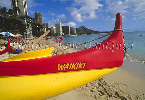 Outrigger canoes on Waikiki beach, Honolulu, Oahu, Hawaii