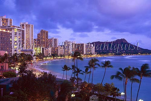 Sunset view of Diamond Head and Waikiki, Honolulu, Oahu, Hawaii