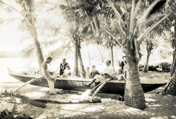 Historic Hawaiian Beach Scene