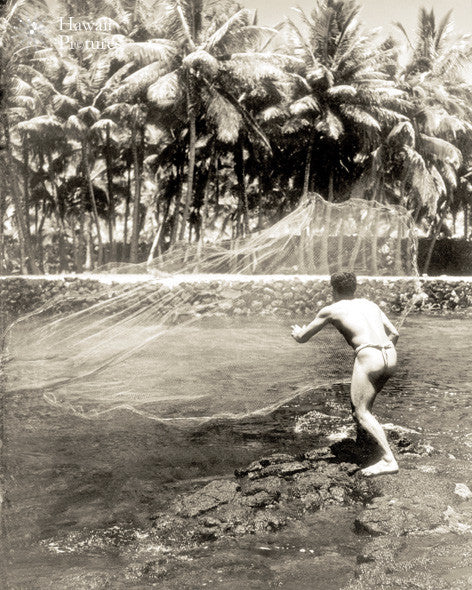 Hawaiian Man Throwing Fishing Net