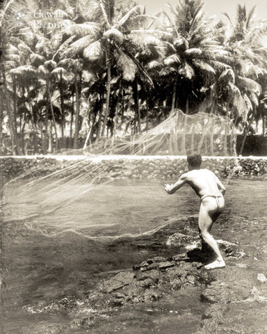 Hawaiian Man Throwing Fishing Net - Hawaiipictures.com