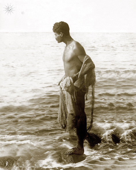 Hawaiian Man With Throw Net