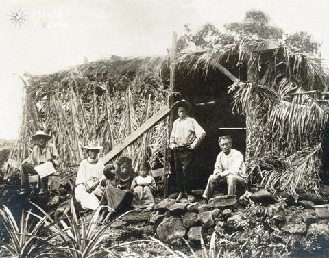 Hawaiian Family At Grass Home - Historic - Hawaiipictures.com
