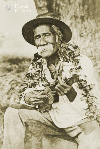 Native Hawaiian Man With Ukulele - Hawaiipictures.com