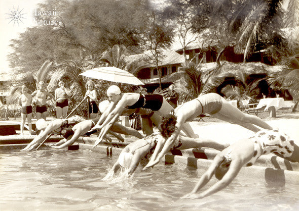People Diving In To Pool - Vintage