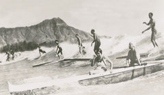 Picture Of Waikiki Surfers And Diamond Head Picture