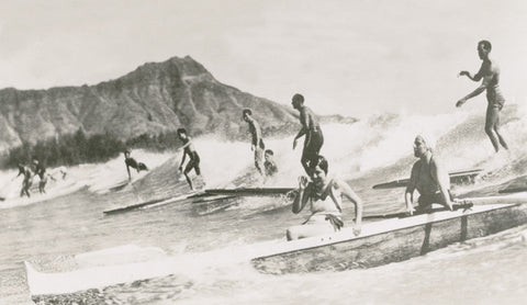 Picture Of Waikiki Surfers And Diamond Head - Hawaiipictures.com