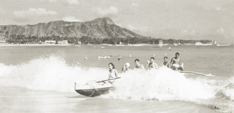 Picture Of Canoe Surfing In Waikiki 1930's