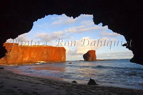 Late afternoon light on Puu Pehe Rock on Lanai, Hawaii Picture Photo