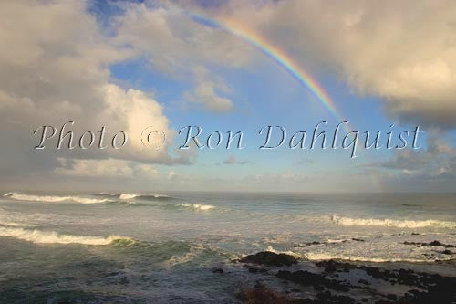 Rainbow over the ocean on the north shore of Maui, Hawaii
