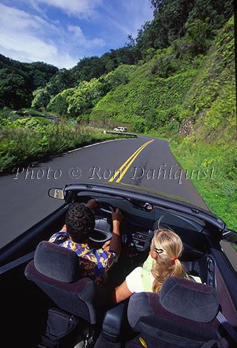 Couple driving on the road to Hana, Maui, Hawaii Picture