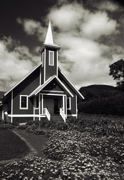 Black And White Small Church - Hawaiipictures.com
