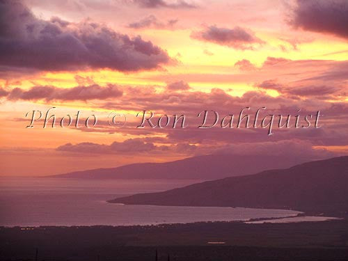 Sunset as viewed from upcountry, Maui, Hawaii