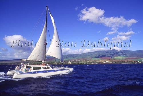 Sailboat off of the Lahaina Kaanapali coast on Maui, Hawaii