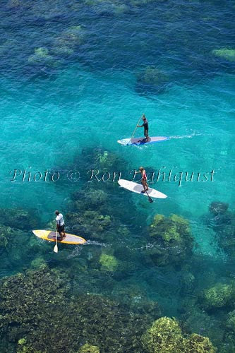 Stand-up paddle boarding on the West shore of Maui, Hawaii Picture Stock Photo