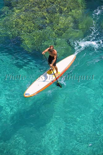 Stand-up paddle boarding on the West shore of Maui, Hawaii Picture Photo