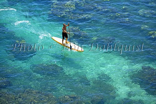 Stand-up paddle boarding on the West shore of Maui, Hawaii