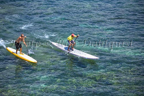 Stand-up paddle boarding on the West shore of Maui, Hawaii Photo Stock Photo