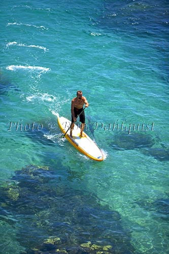Stand-up paddle boarding on the West shore of Maui, Hawaii Picture Photo Stock Photo